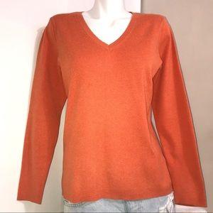 L.O.G.G Pumpkin Orange Knit Stretch V-Neck Sweater